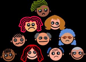 Na sliki so narisani različni obrazi z drugačnimi frizurami in izrazi.