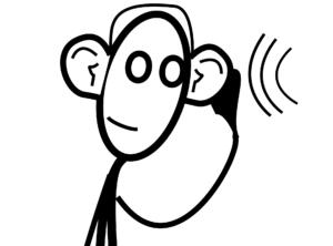 Na sliki je narisana oseba, ki ima pri ušesih narisano oznako za zvočni signal.