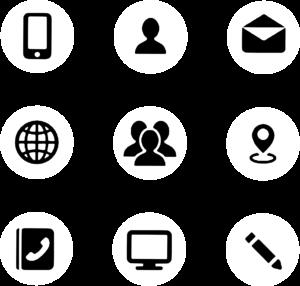 Na sliki so različne ikone, ki predstavljajo različne komunikacijske kanale prek telefona, elektronske pošte, osebno, prek spleta itd.