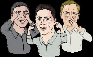 Na sliki so tri osebe, ki si zatiskajo oči, ušesa ali usta.