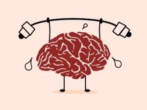 Na sliki je narisana figura, katere osrednji del predstavljajo možgani z očmi in nogami. Narisane so tudi kapljice znoja, kar pomeni, da se možgani naprezajo.