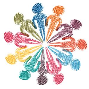 Na sliki so v krogu narisane figure oseb, vsaka figura je v svoji barvi.